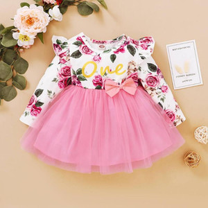 Baby Girl Fall Dress Toddler Clothes 12 18 Months Long Sleeve Flower Print Bow-tie Tulle Dress Brithday Party Dresses Outfit