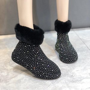Hot Sale-Rimocy Flock Plush Warm Snow Boots Womens Autumn Winter Crystal New Fashion Ankle Boots Woman Furry Comfortable Black Shoes Lady
