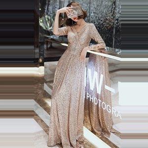 Вечернее платье двойной V-образным вырезом половины рукава женщин платья для вечеринки K004 A-Line Элегантный халат De Soiree 2019 Bling Sequin Формальные платья