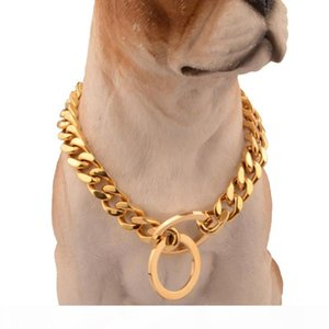 12mm Gold Color Solid Stainless Steel Dog Leash Dog Collar Chain Choker Pet Supplies Variety of Sizes Wholesale and Retail