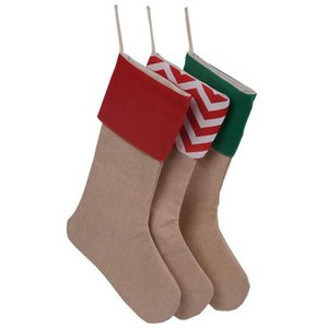 100pcs lot 2020 Personalized Christmas Stockings Gifts mix 7 Design Burlap Cotton Striped Socks For Xmas Tree Decoration