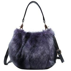 Fluffy women bags 2020 New winter crossbody bag plush bucket bag female totes shoulder mini bag
