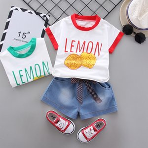 Baby Girls Sports Suit Summer Kids Boys Tracksuit Set Infant Newborn Outfits Cotton Letter Style T-shirt+denim Shorts 2pcs C0122