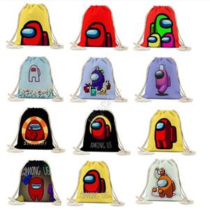 Juego entre nosotros Drawstring Bag Backpack Estudiantes Niños Niñas Bolsas Bolsas Bebé Niños Dibujos animados Entre nosotros Bolsa de felpa Organizador portátil Mochilas D120901