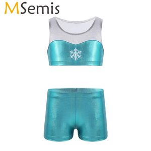 MSemis 2PCS Girls Ballet Dance Costume Shorts Tankini Outfit Kids Shiny Embroidery Crop Top Bottoms Rhythmic Gymnastics Leotard