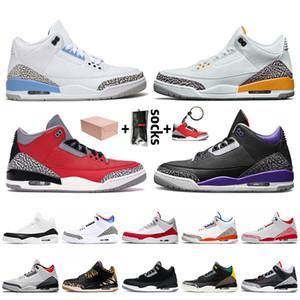 Nike Air Jordan 3 Retro 3 3s Stock x 2020 con la caja de Jumpman 3 3s zapatos de baloncesto del Mens de UNC Rojo Azul SEOUL para hombre zapatillas Entrenadores