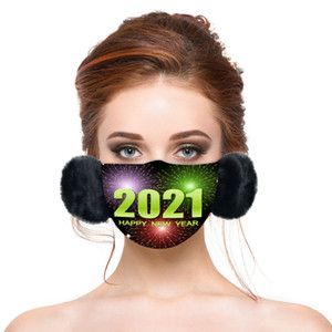 2021 hot sale new year  mask winter warmth thickened mask with earmuffs two-in-one adult face mask