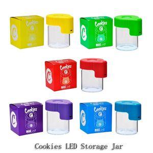 Cookies LED Storage Jar DAGNIFICATO Stash Contenitore 155ml Mag Jar Glowing Container Bottiglia per vuoto per erba asciutta Gummies tabacco commestibile
