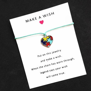 4 Colors Wax Cord Heart Enamel Autism Awareness Jigsaw Puzzle Piece Wish Card Bracelet For Friend Gift With Card 1PCS