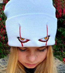 Unisex Winter Soft Outdoor Beanie Solid Color Knitted Hat Penny Wise Scary Eyes Hood Hat for Kids Casual Outside Halloween Hats