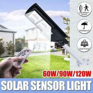 60W 90W 120W LED Solar Street Light PIR Motion Sensor Outdoor Wall Lamp+Remote