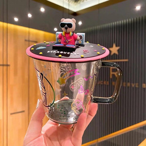 Starbucks music dj медведь силиконовый чашка крышка радуга музыкальный стеклянный питьевой чашкой