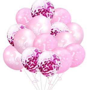 10pcs 15pcs Blue 1st Birthday Balloons foil balloon First Happy Birthday Party Decor Latex Ballon Baby Shower boy girl Favor