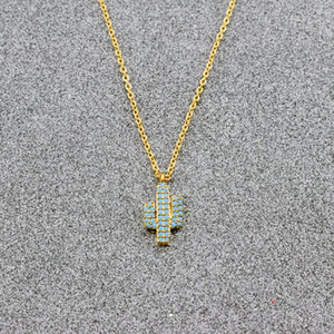 Dainty Gold Color Cactus Pendant Necklaces Jewelry Collares Pave CZ Blue Stone Tattoo Choker Necklace Women Bridesmaid Gift