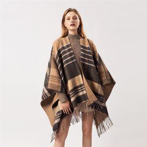 Sanmaihua donne moda cashmere ponchos inverno scialli caldi e avvolgimenti hijab stolando pashmina lungo femmina echarpe