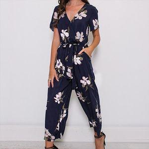 New Women Printing Short Sleeve V Neck Fashion Jumpsuit For Summer Beach Party Enterizos Para Mujer Largos Elegantes
