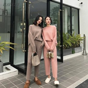 Newest Winter Casual Sweater Tracksuits O-neck Long Sleeve Jumpers & Elastic Women Clothing Waist Female Knitted 2 Pieces Set