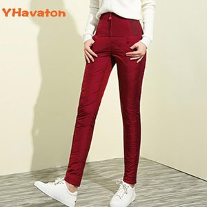 Yhavaton 2020 Donne Down Pants High Vita Pantaloni Inverno Zipper Tenere Addensare caldo Slim Skinny Down Donne Casual1