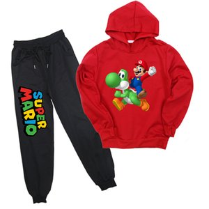 Fashion Mario 2-14y Kids Clothing Set 2pcs Cartoon Boys Girls Sports Suit Children Casual Hoodies and Harem Pant Pullover Hoody