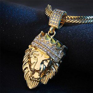 Mens Full Iced Rhinestone An Crown Lion Tag Necklaces Pendants Hip Hop Cuban Chain Hip Hop Necklace Gold Jewelry For Male Choker