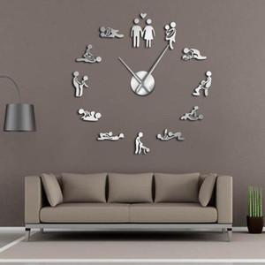 Bachelorette Kama Sutra DIY Adult Room Decorative Giant Wall Clock Sex Love Position Frameless Large Wall Clock Art