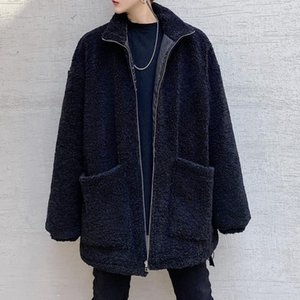 Winter Jacket Men Lamb Fur Jacket Thickened Men's Clothes Trendy Loose Bear Casual Coat Thick Warm Manteau Homme Black