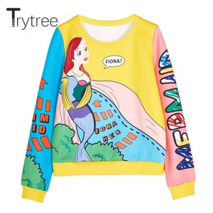 Trytree Spring Summer Women Sweatshirts Streetwear Cartoon Polyester O-neck Pullovers Full Sleeve Casual groot Tops Sweatshirts Y1116