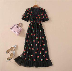 LA.TENDRE Black Strawberry Dress Woman Puff Sleeve Mesh Long Dress Lace Up Party Strawberries Plus Size Black Dresses For Women
