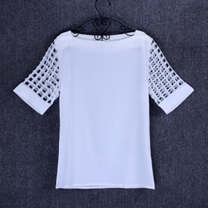 White Shirt Women Chiffon Blouse White Blouse 2019 Summer Short Sleeve Office Ladies Tops Plus Size Blue Yellow Black