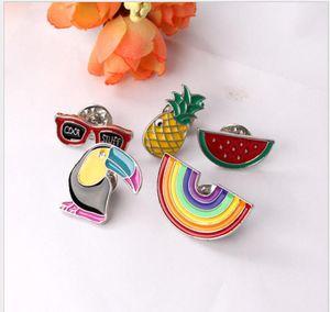 Hot-selling Cartoon cute brooch woodpecker watermelon pineapple rainbow brooch clothing bag accessories zj-1096