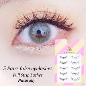 5 Pairs Natural False Eyelashes Simulation Sweet Thick Cross Curl Hand Made Fake Eyelashes Set Makeup Eyelash Extension