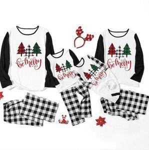 Parent-child Christmas Family Pajamas Sets Women Men Kids Baby Constrast Color Xmas Tree Letters Pullover T-shirt Plaid Pants Suit F120301