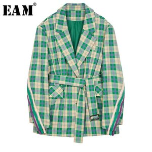 [EAM] 2020 New Spring Autumn Lapel Long Sleeve Green Plaid Loose Waist Bandage Pocket Jacket Women Coat Fashion Tide JR676
