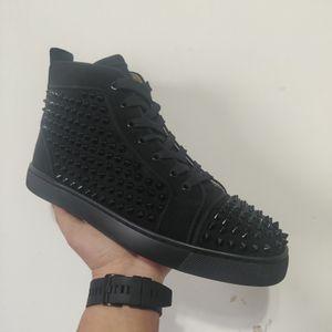 2020 Top Calidad Timbre Red Hight Cut Spikes Pisos Pisos Para Hombres Zapatillas De Cuero De Cuero Zapatos Casuales Con Bolsa De Polvo
