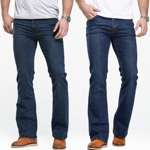Mens Boot Cut Jeans Slightly Flared Slim Fit Famous Brand Blue Black Jeans Designer Classic Male Stretch Denim Fabric 201203