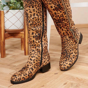 Over The Knee High Boots Women Pumps Square Heel Leopard Knight Boots Winter Side Zipper Women Shoes Zapatillas Mujer 2020 35-43