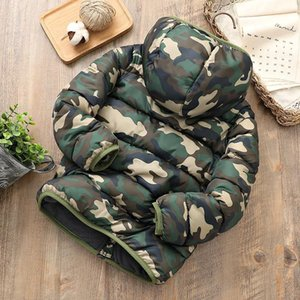 Winter 2019 New Childrens Thick Windbreaker Big Boys Casual Camouflage Hooded Zipper Thick Coat