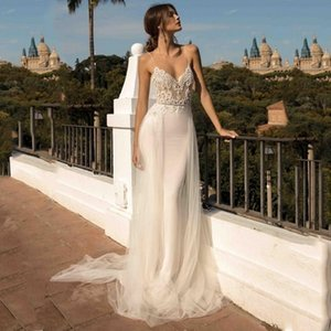 LORIE Beach Dresses Spaghetti Strap Mermaid Backless Princess Long Wedding Gown Boho Bride Dress 2019 Q1110
