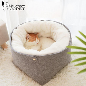 Hoopet Cat Bed Cat House Pet Dog House for Cat Bench for Cats Cotton Pets Products Puppy Soft Comfortable Winter House T200101