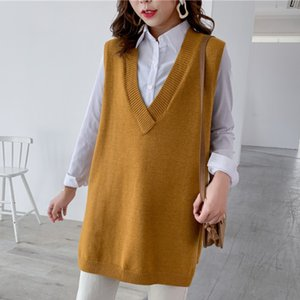 LANMREM 2020 autumn New V-neck Solid Color Seelveless Knit Sweater Streetwear Fashion Loose Wild Outgoing Vest Female PC435