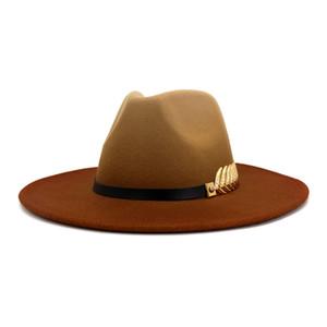 2021 Spray-painted Woolen Jazz Hat European US Fashion Lovers Women Men Flat Large Brim Party Gradient Fedora Hats