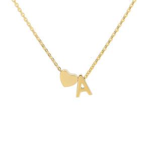 Minimalism Initial A B C D E F G H I J K L M N O P Q R S T U V W X Y Z With Heart Pendants Necklaces Alphabet Letter Necklace