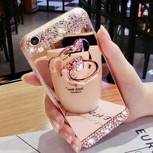 2021 Nouveau étui en silicone Anti-goutte Diamond Mirror Téléphone de téléphone pour iPhone 12 11 Pro Max XS XR 6 7 8 Filles Femmes Bling Diamant W / Coque Case