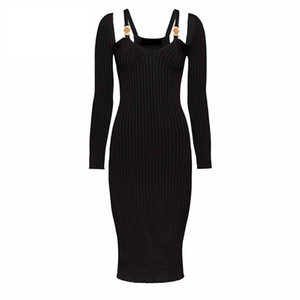Nuevos vestidos de la pista de las mujeres sexy Vestido de manga larga de la manga larga de la manga larga de la alta calidad del botón de oro femenino de la alta calidad Vestidos de fiesta de la pista de Milan Long E18