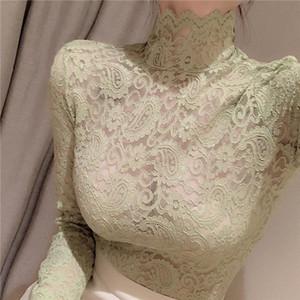 Girls Hollow Out Lace Blouses Shirts Tees Female Turtleneck Full Sleeve Back Zipper Elastic Elegant Blouses Tops For Women