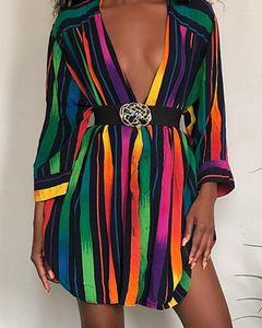 Women Clothing Womens Designer Shirt Dresses Fashion Rainbow Colors Striped Printed Summer Dress Long Sleeve Plus Size