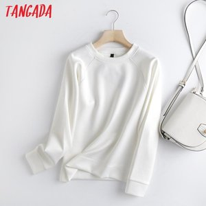 Tangada Women Fashion White Sweatshirts Oversize Long Sleeve O Neck Loose Pullovers Female Tops 6D90