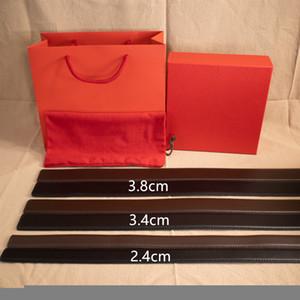 Moda quente Moda Cinto de rua Homem Cinto de Mulher Liso Fivela Cintos de Couro Largura 2.4cm 3.4cm 3.8cm Qualidade superior com caixa