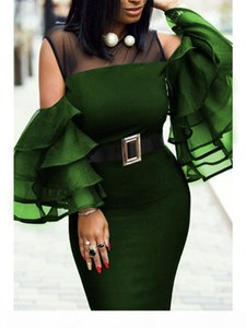 Plus Size African Dresses for Women Sexy Mesh Ruffles Sleeve African Clothing Party Africa Dress Robe Africaine Femme 2019