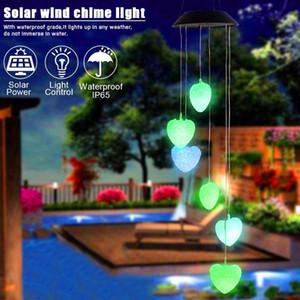 Venta caliente Solar Intelligent Light Control Love Style Wind Chime Corridor Decoración Colgante Panel solar negro Colorido Luz Impermeable